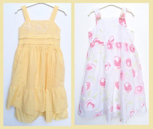 Girls Summer Party White Pink Flower Netting Yellow Sleeveless Dress Age 11