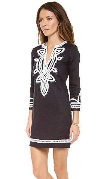 Tory Burch Odelia Embroidered Tunic Dress Cover Up Navy Caftan Resort S Size 6