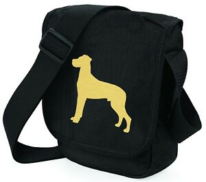 Great-Dane-Shoulder-Bags-Metallic-Gold-Silver-on-Black-Bag-Birthday-Xmas-Gift