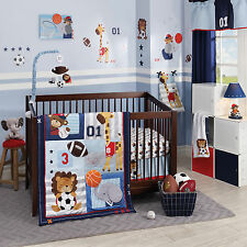 NURSERY 4 Pc SPORTS ANIMALS Boys BEDDING SET Baby Crib Blue Soccer Baseball NEW