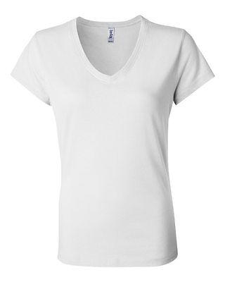 Bella + Canvas Women's Short Sleeve V-Neck Tee Jersey T Shirt New 6005 White