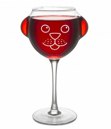 Big Mouth RUFF DAY WINE GLASS with Dog Face and Ears