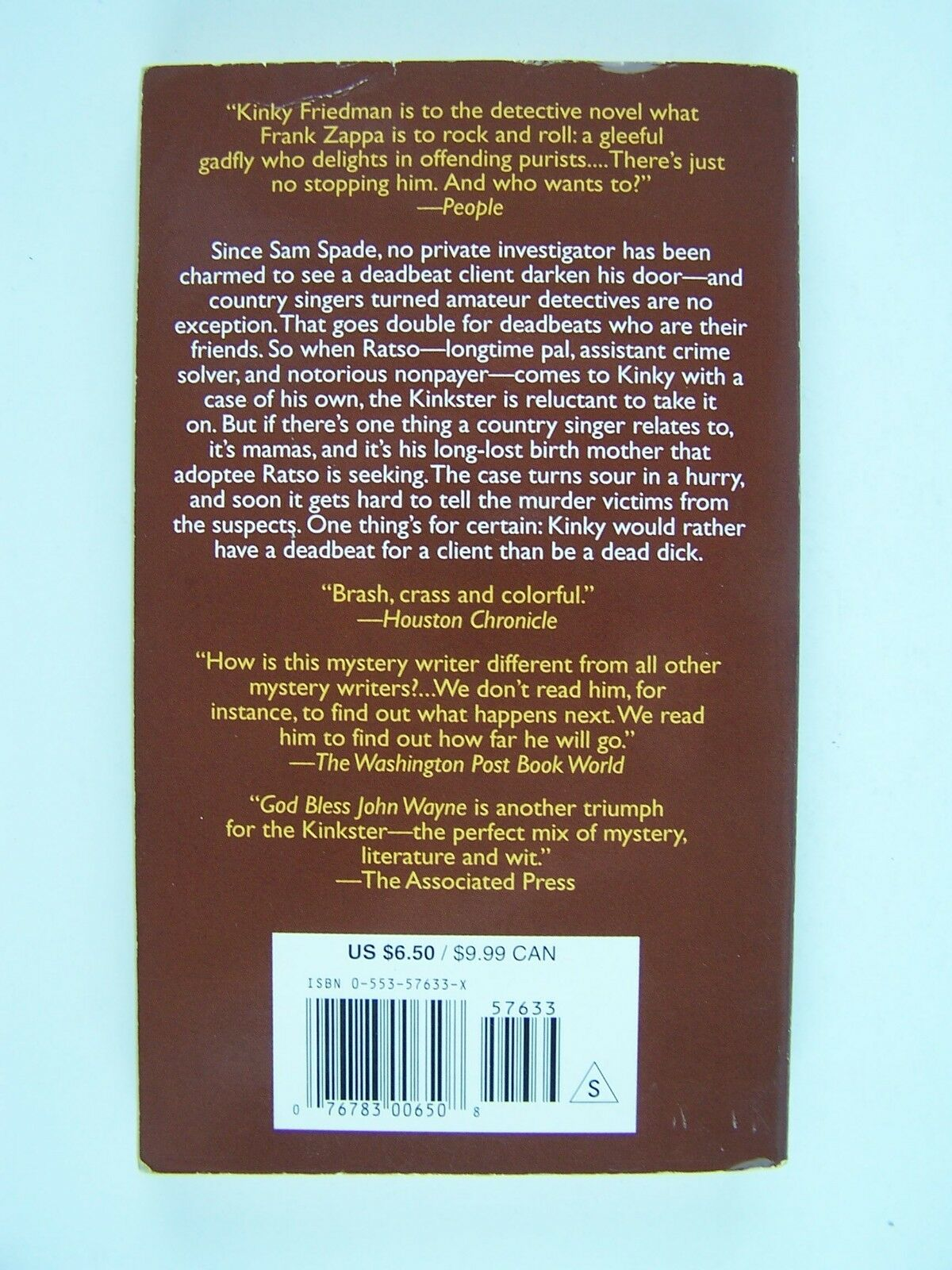 God Bless John Wayne A Novel Kinky Friedman Novels Mass