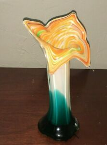 Beautiful-Tulip-Vase-Hand-Blown-Swirl-Art-Glass-Orange-Blue-White-Green-Deco-8-034