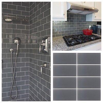 3 X6 Gray Crystal Glass Subway Tile, Glass Subway Tile Bathroom