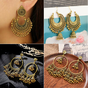 New-Metal-Tassel-Jhumka-Indian-Ethnic-Bollywood-Dangle-Earrings-Fashion-Jewelry