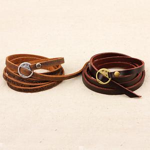 Fashion-Unisex-Coffee-Leather-Punk-Bangle-Multilayers-Bracelet-Buckle-Wristband