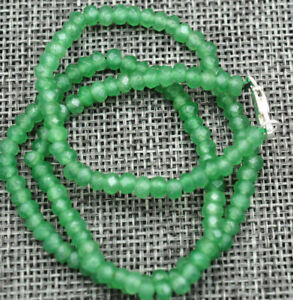 New-2x4mm-Faceted-Myanmar-Natural-Emerald-Abacus-Gems-Necklace-18-Silver-clasp