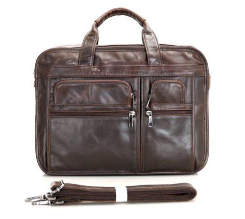 15/'/' New Men/'s Genuine Leather Bag Briefcase Laptop bag Shoulder messenger  J93