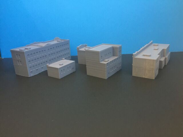 """Urban Town Buildings Set /"""" City Block /"""" USA 5 TT Scale 1:120 No Assembly"""