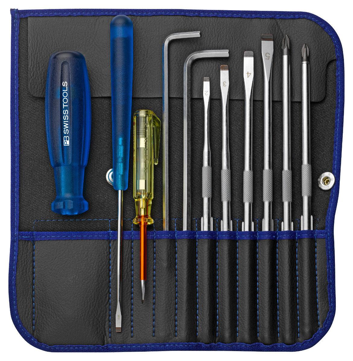 PB Swiss Tools PB 9215.Blau Screwdriver Set Slotted Phillips PoziDriv Hex
