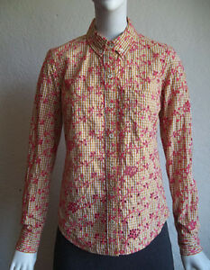 825d2480 Image is loading ODILLE-Gingham-Picnic-Check-Coral-Embroidered-Eyelet-Button -