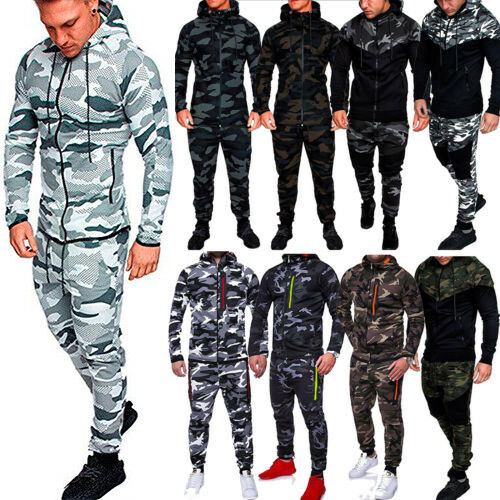 Mens Camo Slim Tracksuit Set Hoodies Coat Jacket Track Pants Winter Warm Outfits