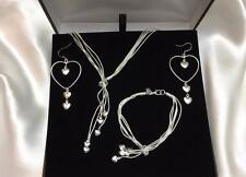 Women's Matching Heart Necklace Earring Bracelet Set 925 Silver CHRISTMAS SALE!