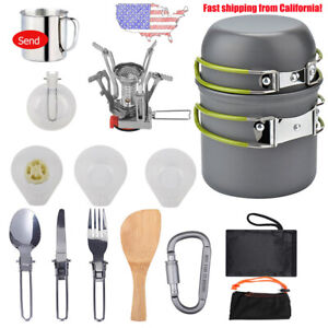 Camping Cookware Mess Kit Pot Cup Fork Spoon Kit for Outdoor Hiking Picnic