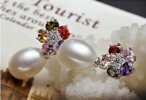 Damen-Ohrringe-925-Sterling-Silber-Suesswasser-Perlen-AAA-Rhodiniert-Zirkonia-AAA