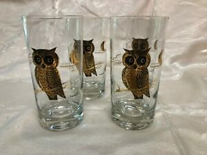 4-Vintage-Courac-High-Ball-Glasses-Gold-Owl-and-Half-Moon-Mid-Century-1960-039-s