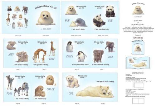 "Whose baby Am I baby animals softbook 100/% cotton fabric panel 35/"" x 43/"""