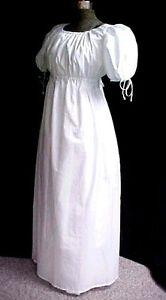 WHITE Regency Gown Empire Jane Austen WOMEN SMALL TO PLUS SZ, Cotton Blend