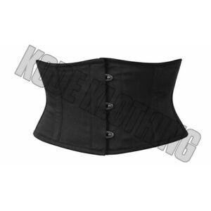 Black-Corset-Cotton-Corset-Waspie-waist-Cincher-Steel-boned-Cotton-Corset
