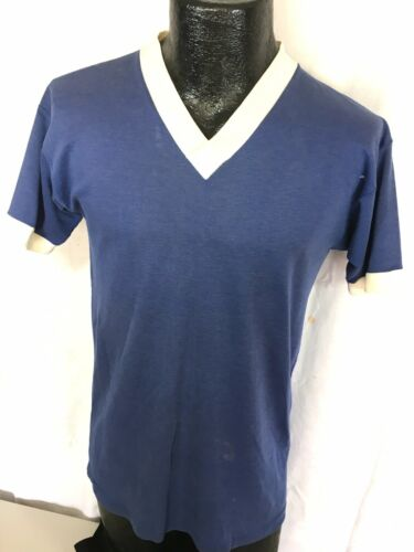 Vtg 50-60's Soccer Sport Supply Men BLUE V-Neck RI