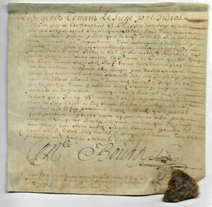 1650-LOUIS-XIV-royal-notary-manuscript-parchment-1p-ROYAL-WAX-SEAL-DAMAGED