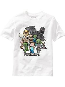 NWT OLD NAVY Boys Minecraft Characters Run Away Tee T-Shirt NEW Creeper Steve