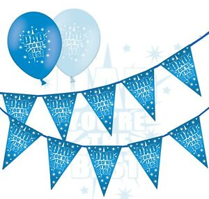 Fathers-Day-Bundle-Bunting-amp-12-034-Latex-Blue-Asst-Balloons-You-Are-the-Best-5ct