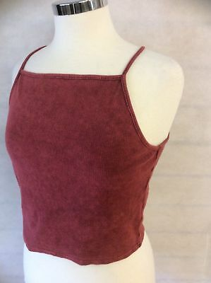 Ladies Womens Burgundy Red Sports Vest Top Cami Jogging Crop Top Size 6 - 16