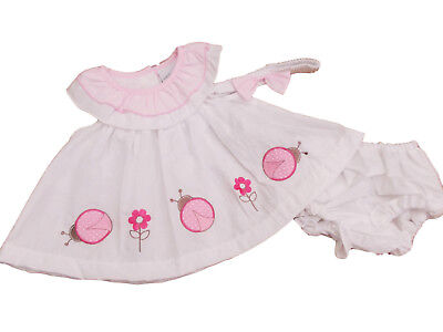 BNWT  baby girls pink  flower summer dress knickers /& hairband 0-3  3-6  6-9 m