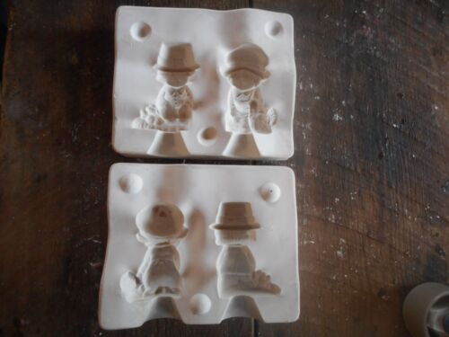 Vintage 1970s Ceramic Mold Plaster Casting October Pilgrim Thanksgiving Boy Girl