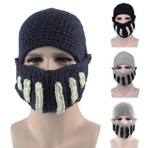 7bdfeedc112 Roman Gladiator Knight Manual Knit Hat Winter Mask cap Unisex Warm ...
