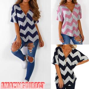 Womens-Zipper-V-Neck-T-Shirt-Summer-Short-Sleeve-Loose-Tunic-Casual-Blouse-Tops