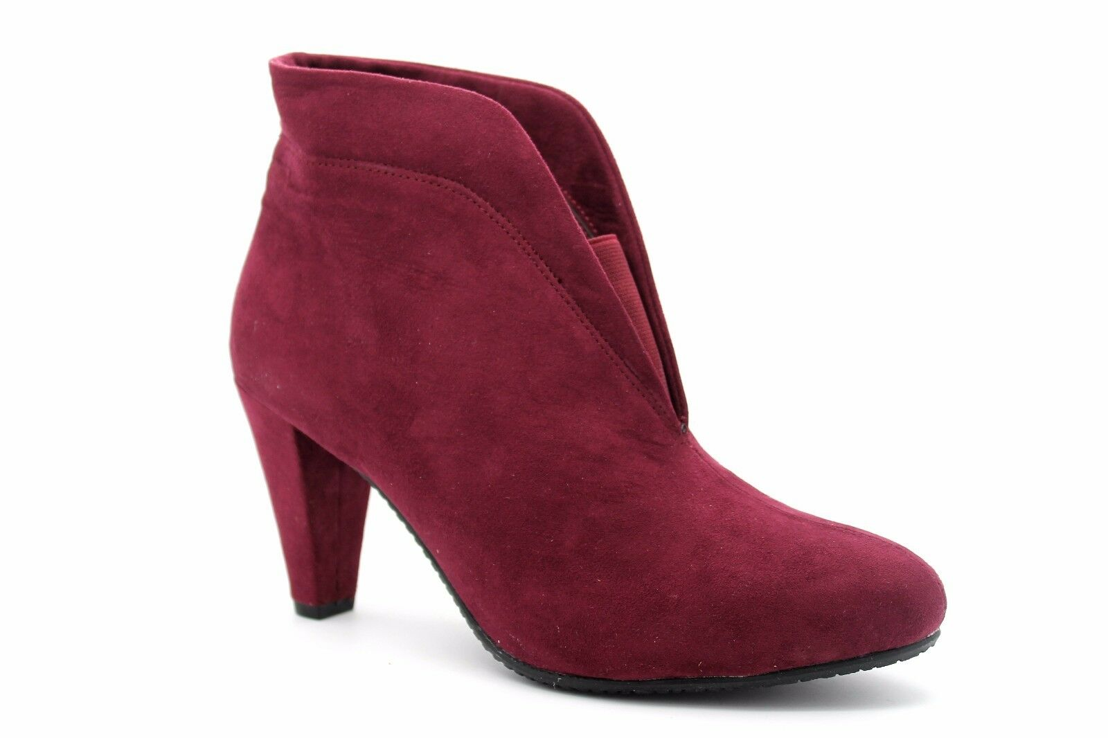 Wallis Womens UK 5 EU 38 Wine Red Faux Suede 3 Heel New Ankle Boots