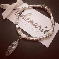 White howlite feather charm silver tube bracelet gemstone bijoux jewellery