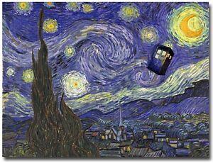 Doctor Who Tardis in Van Gogh Starry Night Poster on Silk Fabric ...
