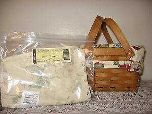 BNIOB NEW Longaberger Heirloom Floral Fabric Liner 4 Your Little Market Basket