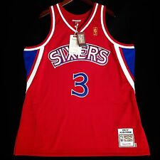 100% Authentic Mitchell & Ness Allen Iverson Sixers Red NBA Jersey Size 52 2XL