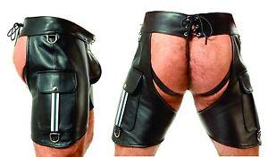 Nouveau-Cuir-Chaps-Leder-Chaps-Pantalon-en-cuir-Cuir-Shorts-Motard-Pantalon