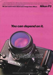 Nikon Color Camera Ads F3, FM, FE: 1981 Original Advertisements, Lot of 3