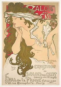 Original-Vintage-Poster-Alphonse-Mucha-Salon-des-Cent-La-Plume-1896