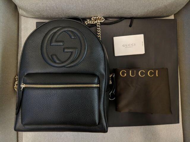 On Clearance to buy finest fabrics Gucci Women's Black GG Soho Logo Leather Backpack Chain Straps 536192