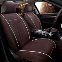 4season Car Seat Cover Pu Leather 5seats Auto Front+rear Cushion Size M W/pillow