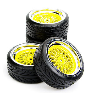4Pcs-1-10-run-flat-Tires-amp-Wheel-12mm-Hex-For-HSP-HPI-RC-1-10-On-Road-Model-Car