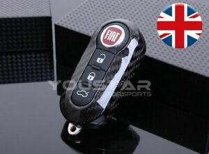 UK-SELLER-CARBON-Replacement-Remote-Key-Cover-for-Abarth-Fiat-500-595-Punto