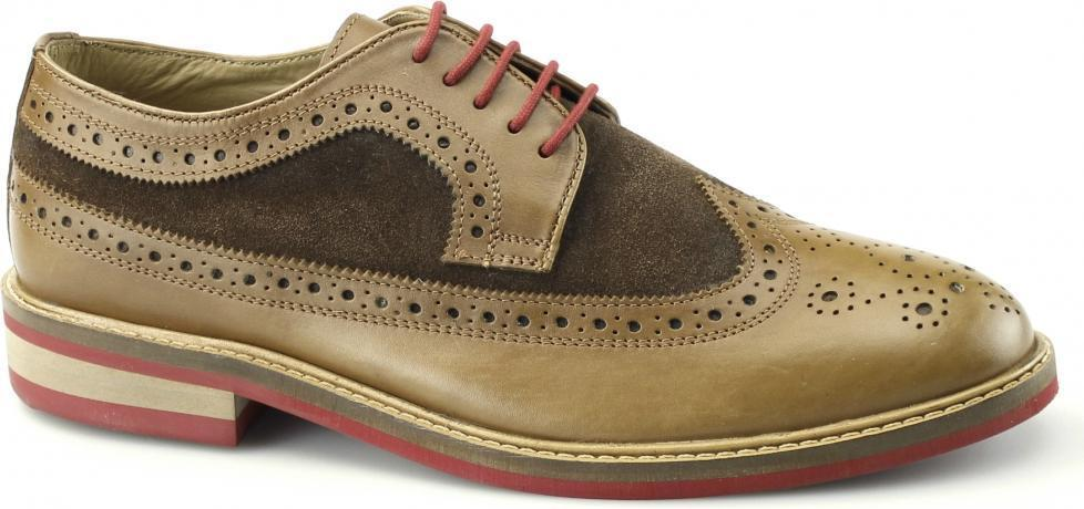 Gucinari FRANKIE Uomo LEATHER & SUEDE Funky Smart Lacci Casual Brogues BROWN