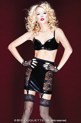 Black Garter Skirt Wet Look Stretch Lace Panels Lace Up-Back Sizes S-L NWT D9254