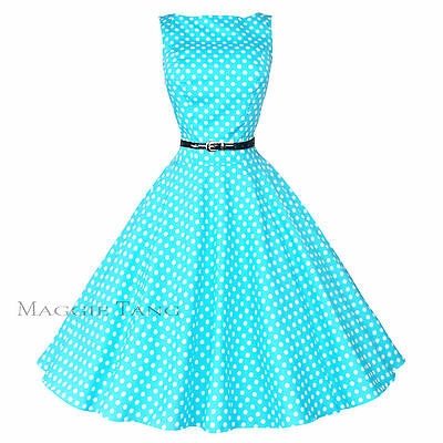 Maggie Tang 50s VTG Retro Pinup Hepburn Rockabilly Polka Dot Swing Dress