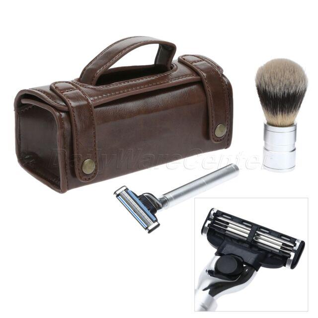 Shaving Razor & Badger Hair Brush with PU Leather Case Men Toiletry Bag Portable