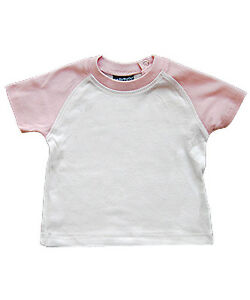 Babybugz-Baseball-Top-Shirt-Baumwolle-NEU-rosa-weiss-3-6-6-12-12-18-Monate